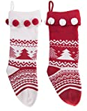 excellent modern fireplace mantel Knitted Christmas Stockings Traditional Holiday Season Santa Socks Classic Sweater Tree Pattern Scandinavian Decoration for Mantel & Staircase Gift Holder in White & Red Colors with - Set of 2