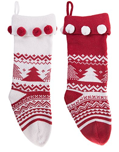 Knitted Christmas Stockings Traditional Holiday Season Santa Socks Classic Sweater Tree Pattern Scandinavian Decoration for Mantel & Staircase Gift Holder in White & Red Colors with - Set of ()
