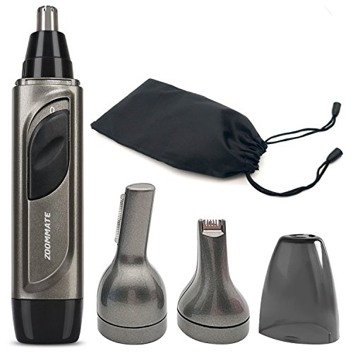 ZOOMMATE 3 in 1 Nose & Ear Hair Trimmer IPX 7 Waterproof Nose Clippers for Men, Stainless Steel Blade With LED light Wet/Dry Use Nose Trimmer Battery Operated (Included an AA battery )