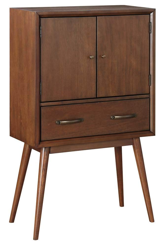 Pulaski Draper Mid-Century Modern Wine Cabinet, Brown by Pulaski