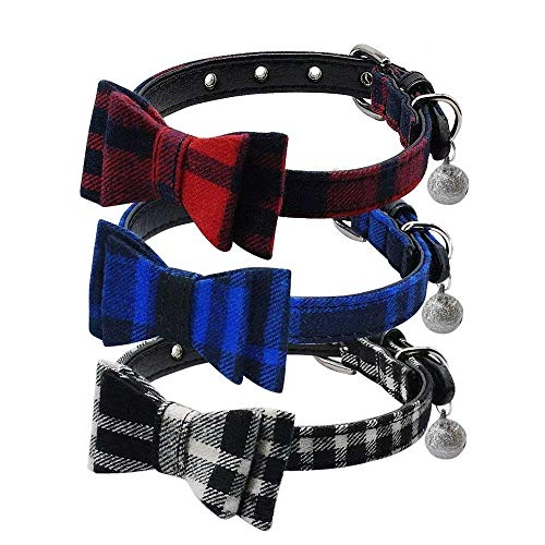 Beirui Cute 3 Set Dog Collar Charms Christmas Adorable Studded Bowtie - British Style Plaid Adjustable Small Dog Collar with Bell Charm for Puppy and Kitten,1/2