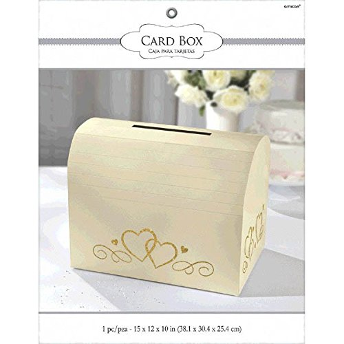 Heart Fabric Holder (Traditional Wedding Party Ivory Card Holder Box With Gold Glitter Hearts, Fabric, 12