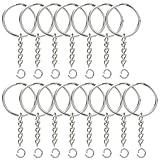 100PCS Split Key Ring with Chain, Lystaii Nickel Plated Split Key Ring with Chain Silver Color Metal Split...