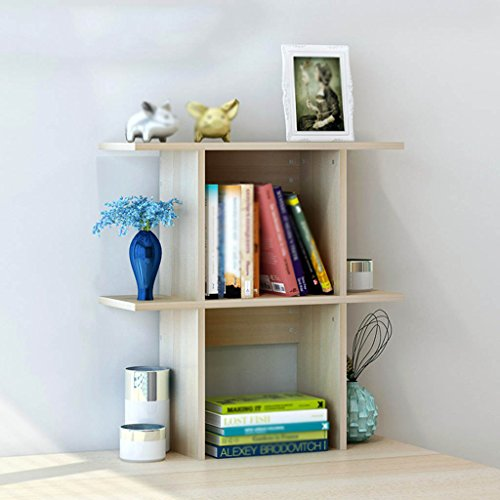 Bookshelf Desktop Simple Shelf Study Desk Storage Rack Small Bookcase Home Adornment (Color : Maple cherry wood, Size : 60cm)
