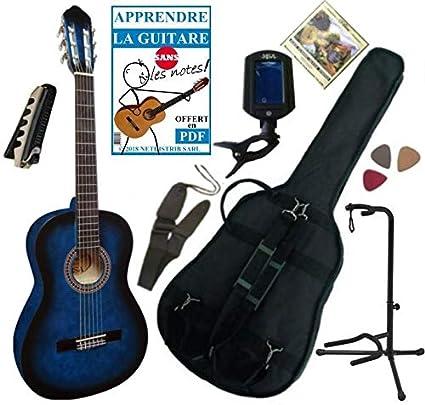 MSA - Lote de guitarra clásica 4/4 para adulto, con 7 accesorios,