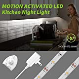 5ft/1.5m Motion Activated LED Strip Light, Megulla Under Cabinet Lighting, Dimmable, IP65 Waterproof, 12V Power Supply, Optional Timer (Cool White(6000K), 1Pack)