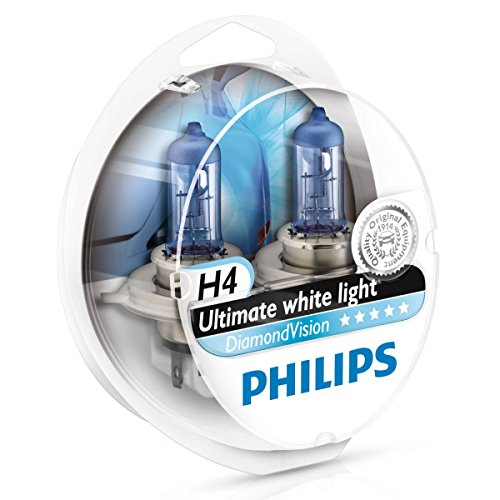 Philips Diamond Vision H4 Upgrade Car Headlight Bulbs 5000K 12342DVS2 (Pair) Diamond Style Headlight