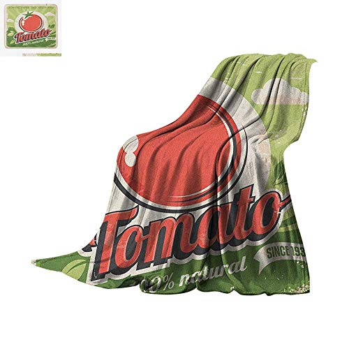 Vintage Digital Printing Blanket Vintage Tomato Poster with an Antique Paper Print in Contemporary Graphic Design Oversized Travel Throw Cover Blanket 50