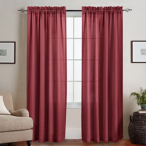 Semi Sheer Window Curtains for Living Room 84 Inches Long Curtain Burgundy Red Thick Casual Weave Textured Sheer Curtain Panels for Bedroom Rod Pocket, 2 Panels (Burgundy Panel)