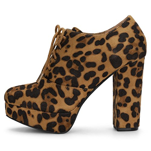 Chunky up Brown Allegra Women's Lace Heel Platform Booties K OxqHqBt7