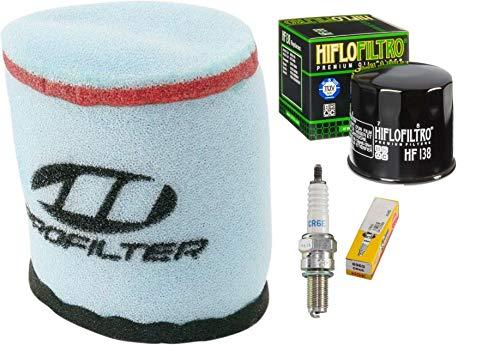 Tune Up Kit Pre-Oiled Air Filter Oil Filter Spark Plug For Suzuki ATV Vinson 500 LTA500 LT500F ()