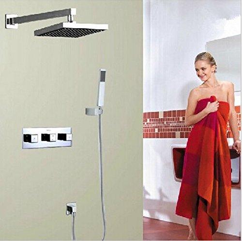 GOWE concealed thermostatic shower sets thermostatic mixing valve bath shower mixer bath shower faucet set bathroom set color:red 2