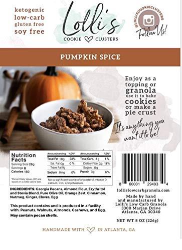 Lolli's Low Carb Granola, Keto Friendly, Low Glycemic, Gluten Free, Grain Free - 8 Oz (Pumpkin Spice)