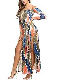 Zeagoo Women's Sexy Off Shoulder Floral Print High Split Overlay Long Beach Dress