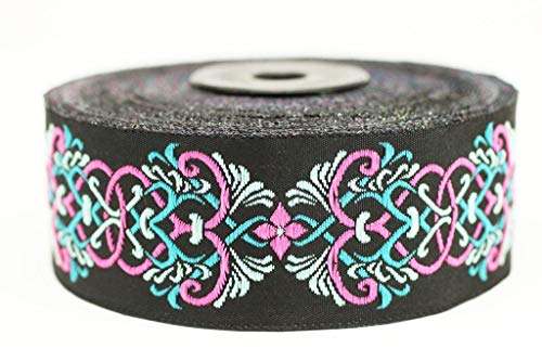 35 mm Celtic Knot Design Pink Jacquard Trim, Middle Earth Inspired Ribbons (1.37 inches), DIY Sewing Supplies, Sewing Trim, Clothing, Fashion Ribbon (10 Meters/ 32.8 ft) (10 Meters/ 32.8 -