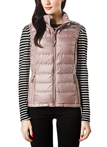 XPOSURZONE Women Packable Lightweight Down Vest Outdoor Puffer Vest SH.Tan Melange XS (Puffy Vest)
