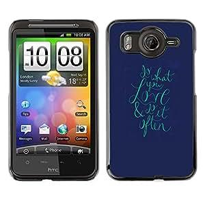Cubierta de la caja de protección la piel dura para el HTC DESIRE HD / G10 - text love teal navy blue valentines