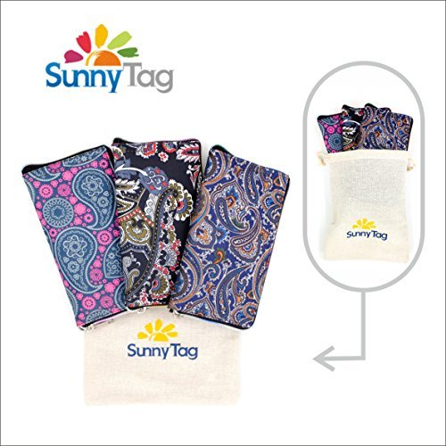 Sunny Tag Foldable Reusable Eco friendly Wallet Style Grocery Shopping Travel Bag Tote Pack of 3. Paisley Printed Water repellent, Washable, Hold up to 33 LBS or 15 KG