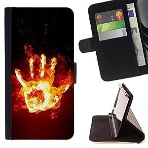 BullDog Case - FOR/Sony Xperia Z3 D6603 / - / Funny Fire Hand /- Monedero de cuero de la PU Llevar cubierta de la caja con el ID Credit Card Slots Flip funda de cuer