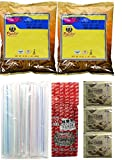 Goodboy Shops Collection of BOBA Tapioca Pearls for Bubble Tea, Pantai Thai Tea Powder and Boba Jumbo Straws Bubble Gift Set Plus a Free Gift Instant Ginger Honey Crystals