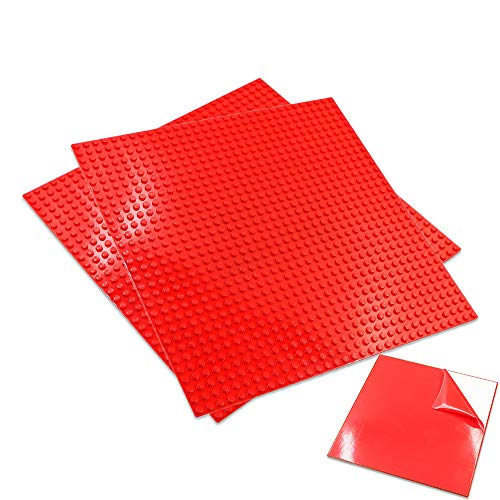 Upgrade Self Adhesive Baseplates - 10 X 10 or 32 X 32 Studs (2 Pack) Peel and Stick Building Blocks Base Plates - Compatible with All Major Brick Sets - by Nicolababe (10 x 10, 2 Pack, Red)