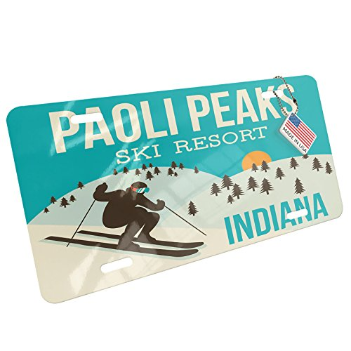 Metal License Plate Paoli Peaks Ski Resort - Indiana Ski Resort - Neonblond - Paoli Metal