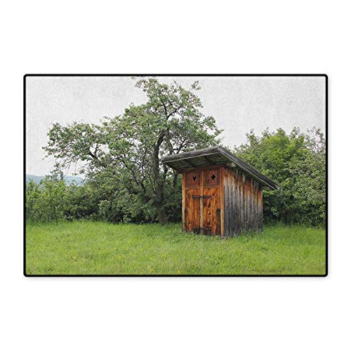 Outhouse,Door Mat Small Rug,Wooden Little Hut Barn Shed Cottage in Nature Forest Image,Floor Mat for Kids,Forest Green Pale Green and Brown,Size,16