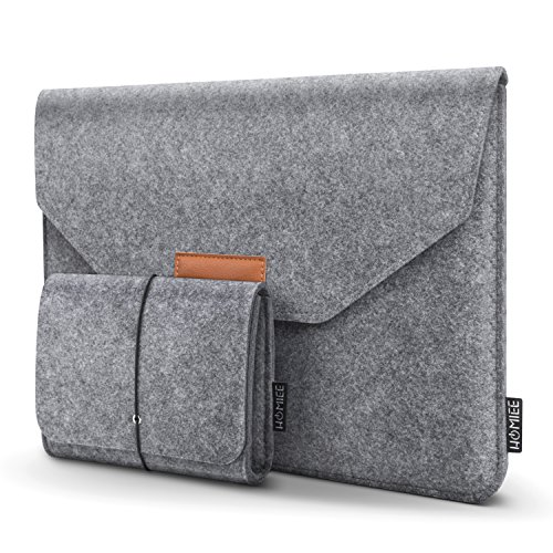 "HOMIEE 13-13.3 Inch MacBook Pro Sleeve Felt Laptop Protective Case for Apple MacBook Pro Retina, MacBook Air, 12.9"" iPad Pro, Dell XPS, Lenovo/HP/Chormebook Ultra Slim Notebook, Light Gray"