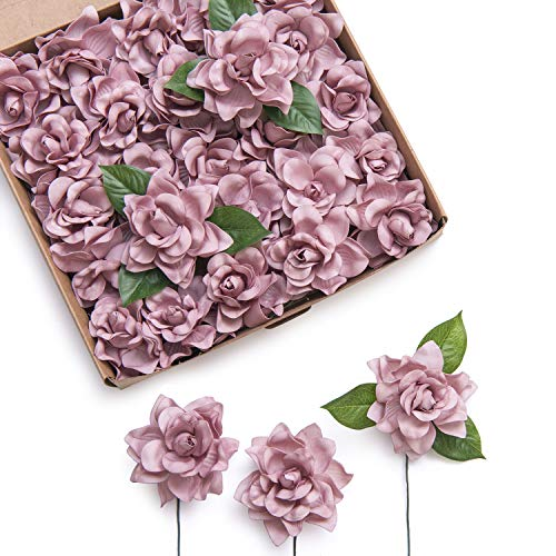 Ling's moment Artificial Flowers 25pcs Dusty Rose Gardenia Flowers w/Stem for DIY Wedding Bouquets Centerpieces Arrangements Party Baby Shower Home Decorations (Dusty Rose) from Ling's moment
