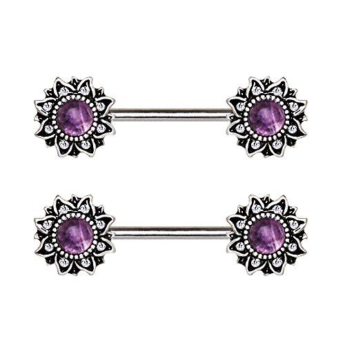 (Pierced Owl Mystical Sunburst Nipple Barbells in 316L Stainless Steel with Stone Inlay - Sold as a Pair - Multiple Colors Available (Amethyst))