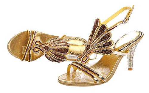 Sandali Di Strass Fatti A Mano Con Strass Fatti A Mano Da Donna Modello Honeystore Gold-01