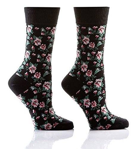 (Floral Collage Women's Crew Socks by Yo Sox - Pink Flowers on Black )