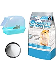 Hamiledyi Hamster Sand Bathroom,Gerbil Bathing Sand Chinchilla Dust Bath Potty Litter Sand Plastic Container Sandbox Hideout Sleep Bathtub for Guinea Pigs Dwarf Hamster