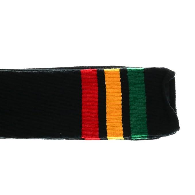 Choobes Unisex 30 pulgadas sobre la rodilla calcetines de tubo negro con rayas verde-oro