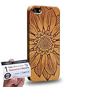 Case88 [Apple iPhone SE] 3D impresa Carcasa/Funda dura para & Tarjeta de garantía - Art Print Flower Wood Art