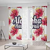 TecBillion Decor Collection,Hawaiian Decorations,for Bedroom Living Dining Room Kids Youth Room,Aloha Hawaii Tropical Flowers Floral Ornament with Wildflowers Classic Design,103Wx96L Inches