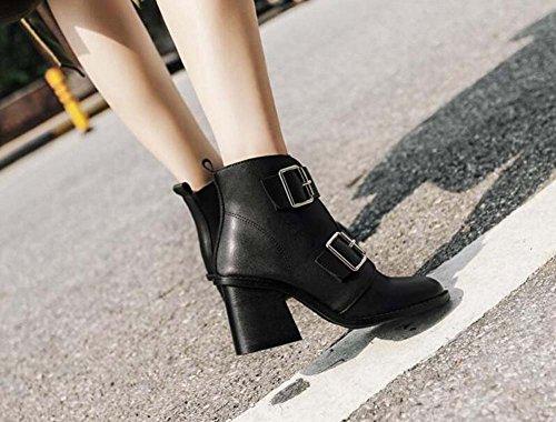 E Chunkly Zapatos Mujer Hebilla Cinturón Eu Nueva Tamaño 7 Otoño Del 2017 5cm Bota 35 Ronda 40 Corte Boleto Botas Zapato Bootie Caballo Hermosa Invierno De Black Heel qnwHYw5C