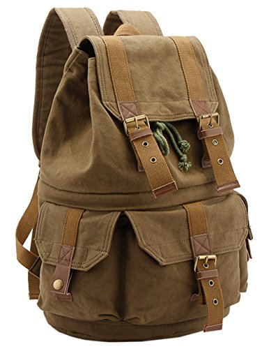Canvas Backpack Camera Bag Rucksack Hiking Travel Tote Back Bag Green