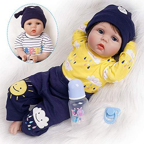 HRYEOY 22inch Reborn Baby Dolls Boy Realistic Newborn Dolls BabySilicone Real Touch Toddler Toys