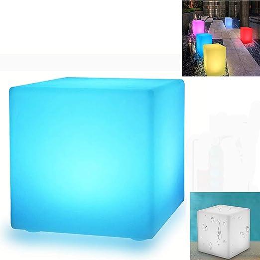 WIVION Cubo de luz Solar para jardín LED, lámpara Solar de Cubo RGB luz Decorativa lámpara de jardín para Exterior Luz de Cubo IP67 (30 x 30 cm): Amazon.es: Hogar