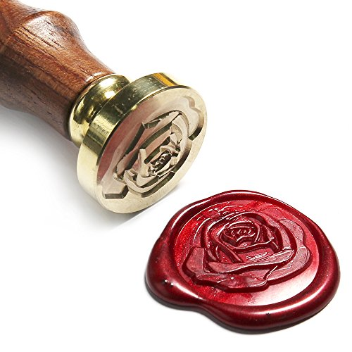 (UNIQOOO Art & Crafts Romance Rose Wax Seal Stamp, Great for Embellishment of Envelope, Post Card, Snail Mail, Wedding Invitations, Wine Packages, Gift Decoration, etc-Gift Idea for Artistic)