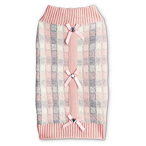 Bond & Co. Pink Plaid Placket Sweater for Dogs, X-Small