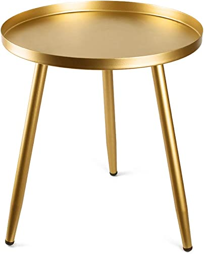 Tray Metal Round Side End Table Gold