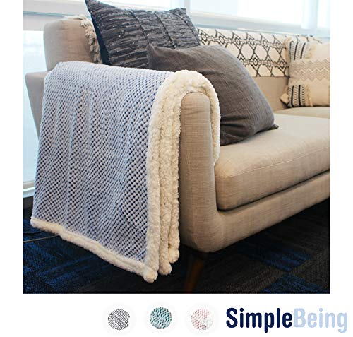 Simple Being Premium Sherpa Plush Fleece Throw Blanket for Couch, Sofa, Bed, Couch, Office Lap, Lightweight, Warm, Cozy, Soft, Fluffy, Reversible, Luxury TV Blanket - (50x65 inches, Blue) - WARM & COZY: Super soft throw blanket that is ideal for watching TV and lounging on sofa, couch or bed. Wrap yourselves or snuggle with your loved ones with this this blanket and stay comfortably warm. Perfect for indoor and outdoor. Extra long 50 x 65 inches fits even the taller adults and kids! WARM, COZY, YET LIGHTWEIGHT – This Sherpa Throw Blanket by Simple Being is made with cozy 480GSM sherpa lining fabric that will keep you warm and cozy. Despite its warmth, it is also lightweight, making it a truly functional blanket that you can carry around your home and outdoor activities. LUXURIOUSLY SOFT: Made from super soft material that reverses to Sherpa for superior comfort. - blankets-throws, bedroom-sheets-comforters, bedroom - 51cM9wa7l8L -