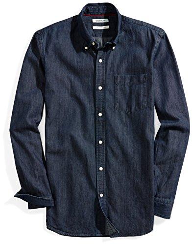 Goodthreads Men's Slim-Fit Long-Sleeve Denim Shirt, Dark Blue, Small
