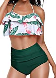 Huiyuzhi Womens High Waisted Bikini Bottom Falbala Flounce Halter Neck Two Piece Swimsuit Bathing Suit,Green,Small