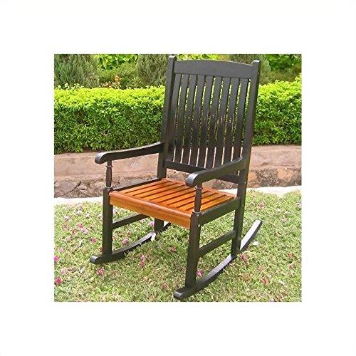 International Caravan VF-4108-Blk/Oak-IC Furniture Piece Outdoor Wood Porch Rocker