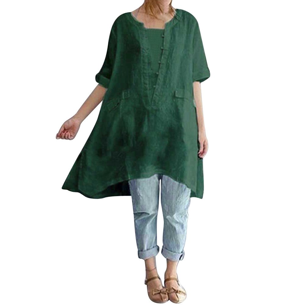 Kaitobe Womens Tops Short Sleeve Round Neck T-Shirts Plus Size Irregular Loose Linen Shirt Blouse Tops Shirts Green
