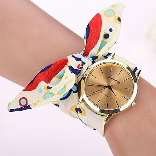 Shensee New Vogue Girls Wave Floral Cloth Quartz Dial Bracelet Wristwatch Watch Red
