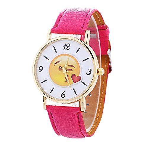 MINILUJIA MINILUJIA Bracelet Watches Unique Emoji Watch Leather Strap Watches for Women Hot Pink